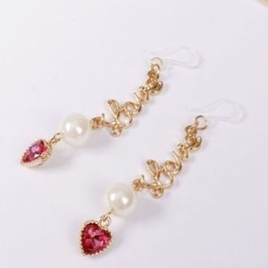 3/$20....BETSEY JOHNSON Love Heart Dangle Earrings